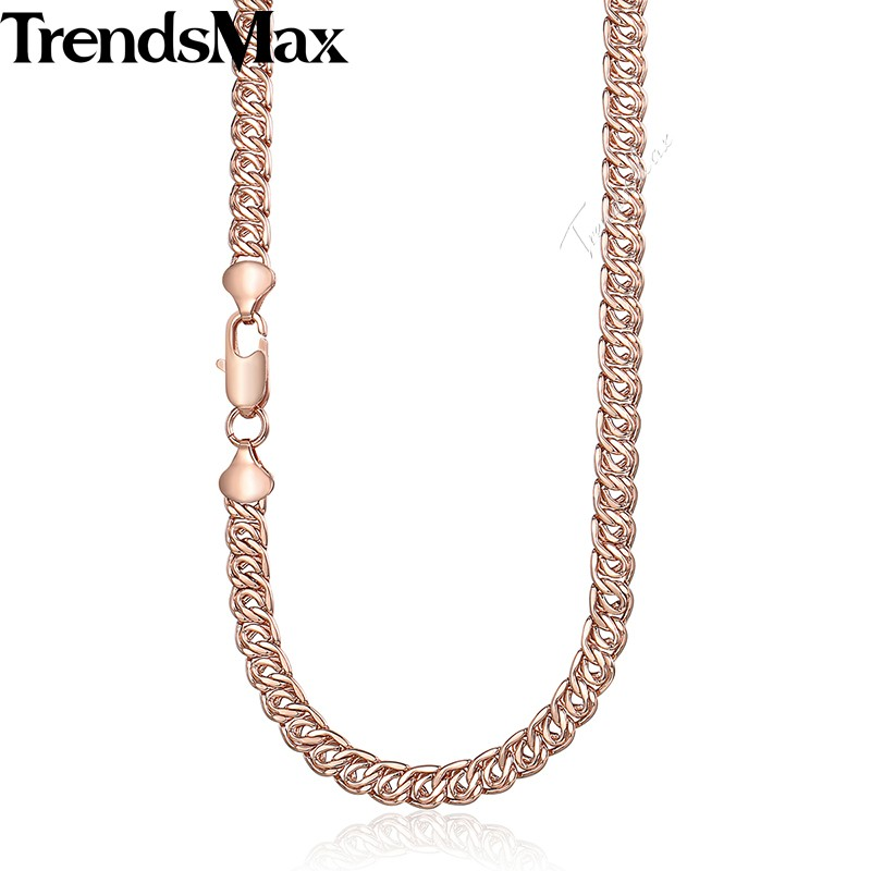 Trendy Womens Necklace 585 Rose Gold Chain for Women Gift Jewelry 7mm 45cm 50cm 55cm GN326 ...