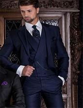 Элегантный одна кнопка темно синие Жених Смокинги друзей жениха для мужчин Свадебные Пром Костюмы Жених одежда костюмы (куртка + брюки для девоч