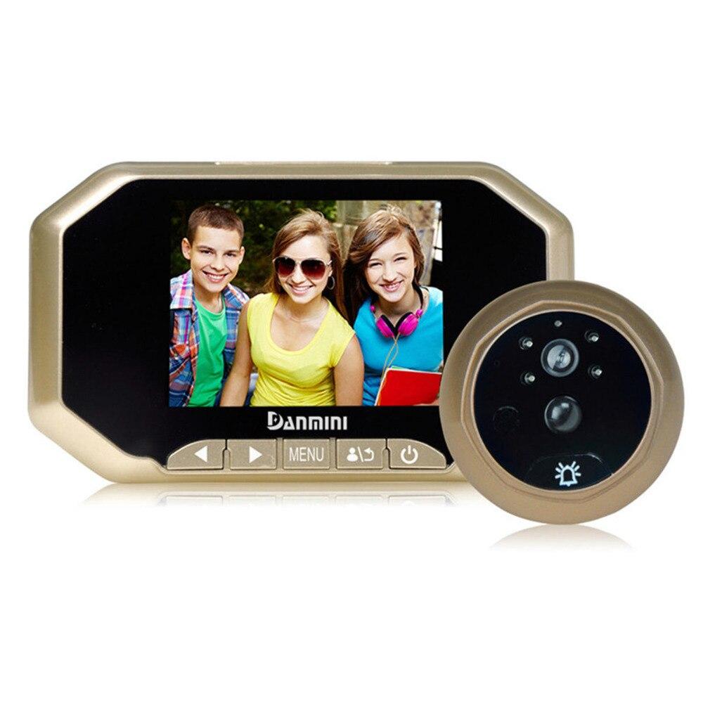 DANMINI 3.5 inch Wired Video Doorbell Electronic Door Bell Viewer IR Night Door Peephole Camera PIR Motion Detection Door Camera