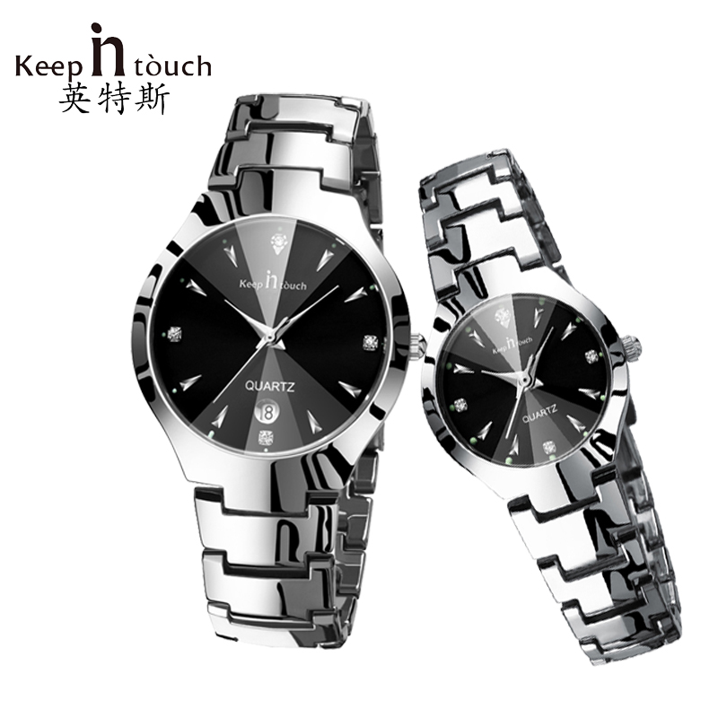 KEEP IN TOUCH Couple Watches for Lovers Luminous Luxury Quartz Men and Women Lover Watch Fashion Calendar Dress Wristwatches keep in touch luxury women watches top brand quartz bracelet dress calendar rhinestone ladies watch luminous relogios feminino