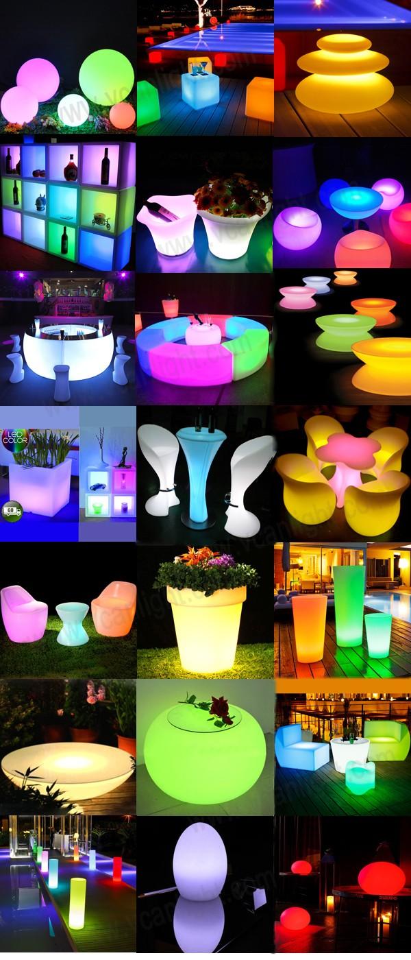 PE plastic waterproof outdoor rgb colors change remote control light led illuminated furniture
