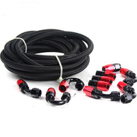 SPEEDWOW 5 Meter AN8 Nylon & Stainless Steel Braided Hose+8AN Hose End Adaptor Fittings Kit Oil/Fuel/Water Hose Line Black&Red