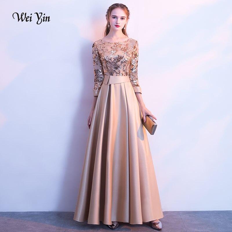 Weiyin Nouvelle Robe De Soirée Du Banquet Élégant Or Vin Rouge Gris Bleu Marine 3/4 Manches En Satin Paillettes Parti Longue Formelle robe WY104