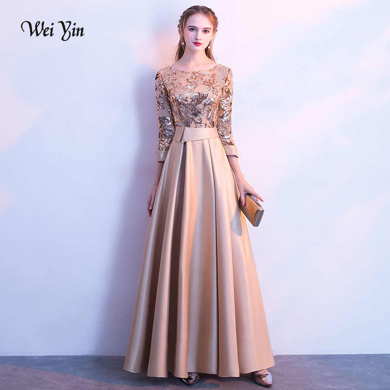 weiyin New Evening Dress The Banquet Elegant Gold Wine Red Gray Navy Blue  3 4 ddb3d50c5043