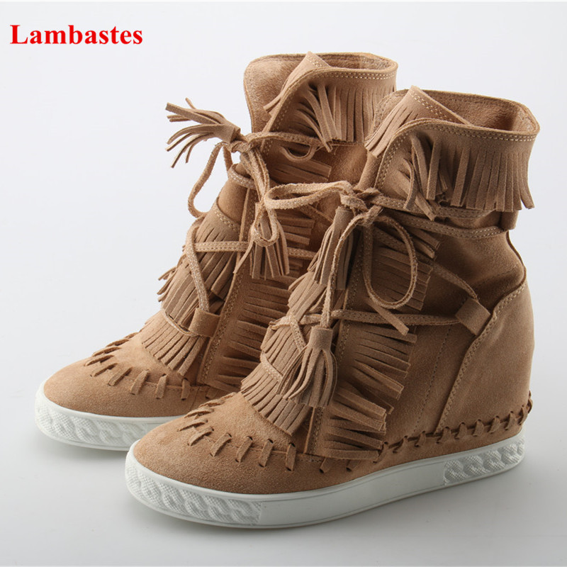 Candy Color Lace Up Height Increasing Fringe Lace Up Women Casual Shoes Sweet Comfortable Ankle Platform Round Toe Female Pumps fringe hem lace insert kimono