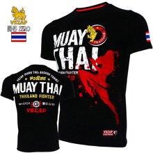 VSZAP/Трикотажная футболка с короткими рукавами, боевая одежда, муай тай, ММА, хлопковые футболки для кикбоксинга