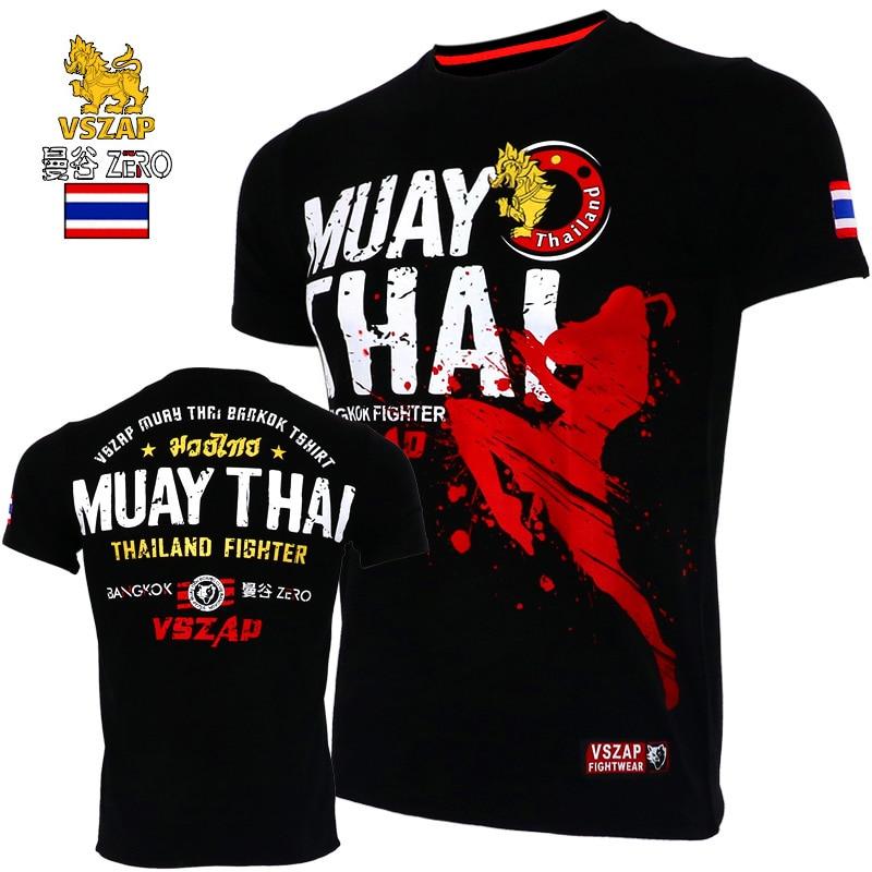 Vszap camiseta de manga curta roupas de combate muscle muay thai mma algodão kick boxing camisas