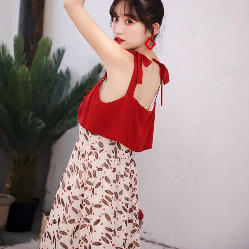 Robe en mousseline de soie florale Chic femmes été bretelles Spaghetti robes rouges femme Streetwear robe Midi - 5