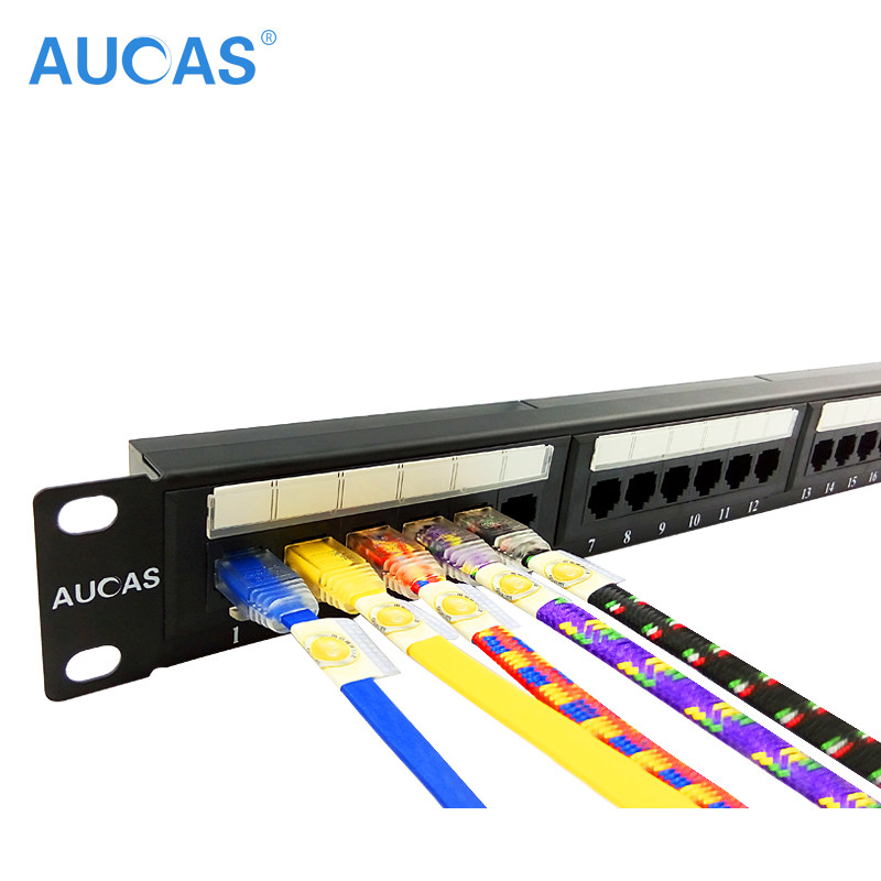 AUCAS 24 Ports CAT6 UTP Keystone Patch Panel cat6 Cable Frame Faceplate rj45 patch panel 24port suede panel elbow patch ribbed sweater