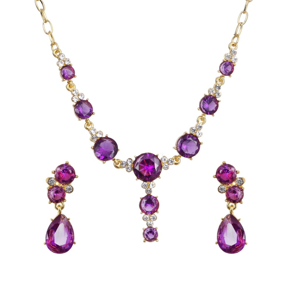 Hesiod 4Colors Crystal Rhinestone Drop Pendant Gold Color Jewlery Sets Austria Crystal Choker Necklace With Stone Stud Earrings