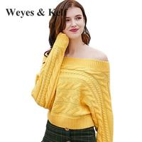 Weyes Kelf Sexy Off Shoulder Womens Winter Jumpers 2018 Spring Long Sleeve Women Sweaters And Pullovers