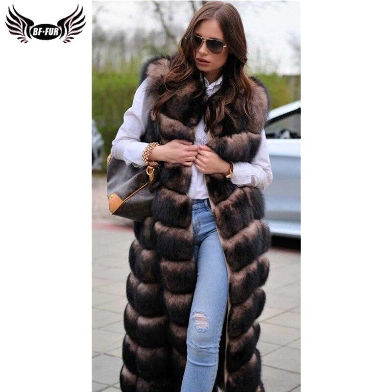 BFFUR настоящий жилет из лисьего меха 120 см, толстое теплое длинное пальто, женская зимняя Роскошная брендовая куртка без рукавов, парка с нату...