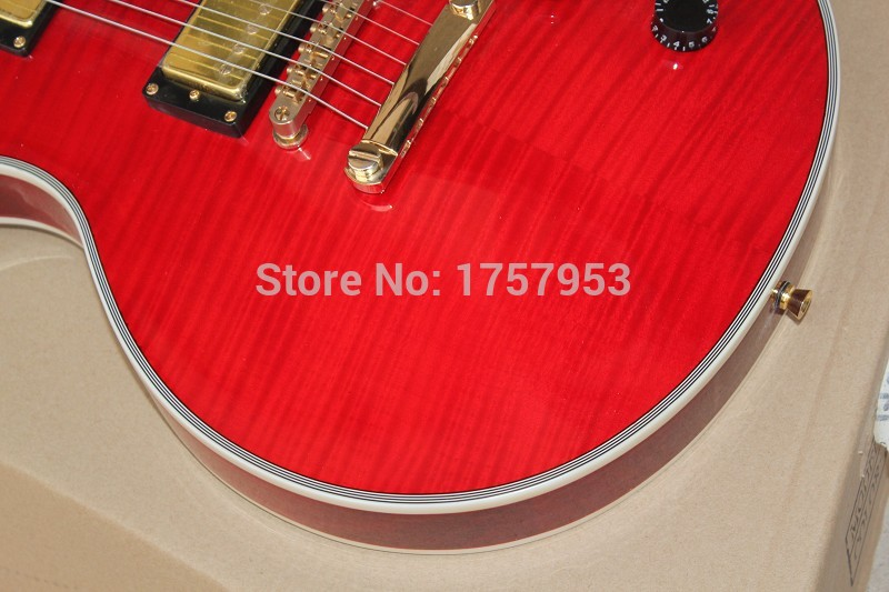 Free Shipping Factory Custom Shop 2017 new 1968 Custom Red Burst Tiger Flame top l Electric Guitar In Stock 3 23
