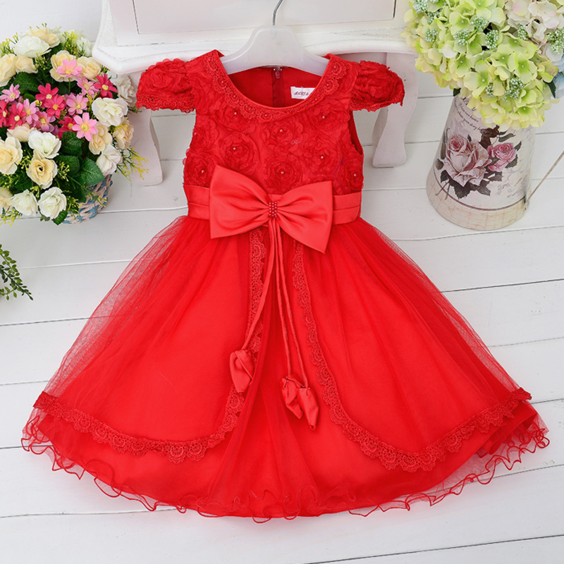 2016 New Rose Flowers Dress Girls For Wedding and Party Summer Baby Clothes Princess Party Kids Dresses For Girl Infant Costume summer baby dress voile floral wedding dresses for girls toddler infant girl vestido infantil girls costume cute dress clothes