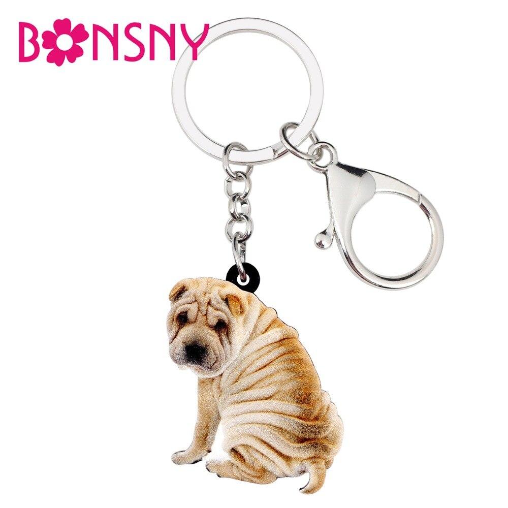 Bonsny Acrylic Novelty Shar Pei Dog Key Chains Keychain Rings Animal Handbag Car Charms Jewelry For Women Girls Gift Accessories