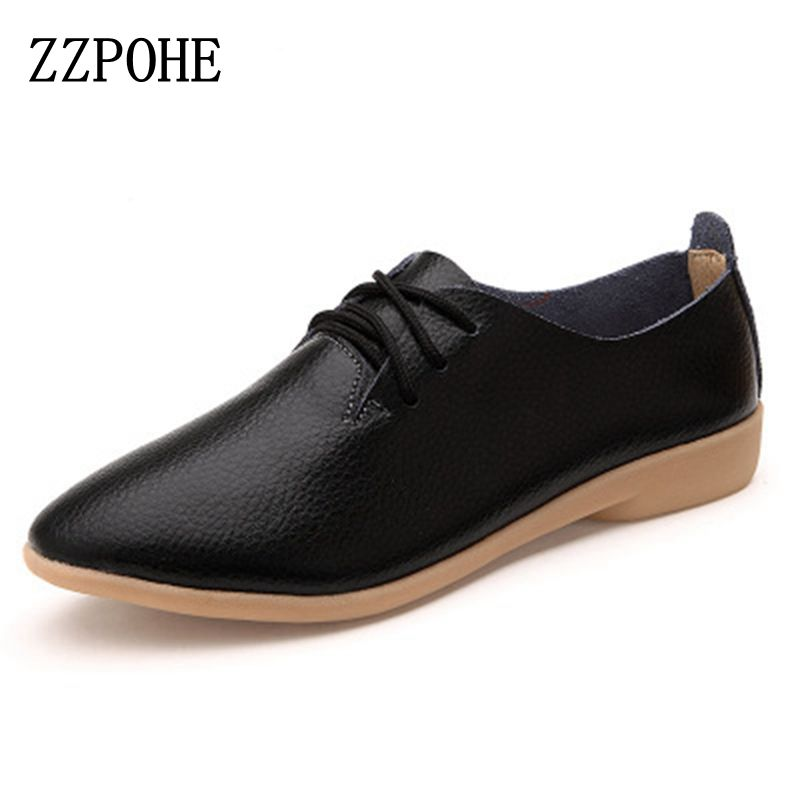 ZZPOHE 2017 Fashion Woman Flats Shoes Casual Comfortable Lace-Up Women Shoes Soft bottom Genuine Leather shoes free shipping 2017 new women shoes genuine leather casual shoes flats breathable lace up soft fashion brand shoes comfortable round toe white
