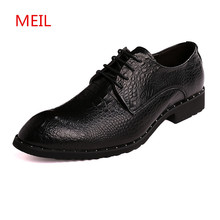 Luxury Brush Leather Men Shoes Crocodile Pattern Casual Flats Business Oxfords Male formal mens dress shoes