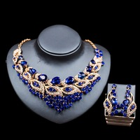 LAN PALACE nigerian beads turkish jewelry gold color glass necklace and earrings for wedding six colors free shipping
