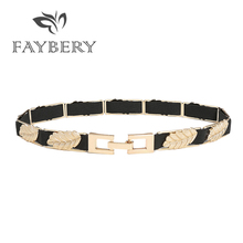 Fashion Golden Silvery Leaf Chain Belts for Women Wedding Dress Brand Designer Metal Elastic Waist Belt Apparel Accessories