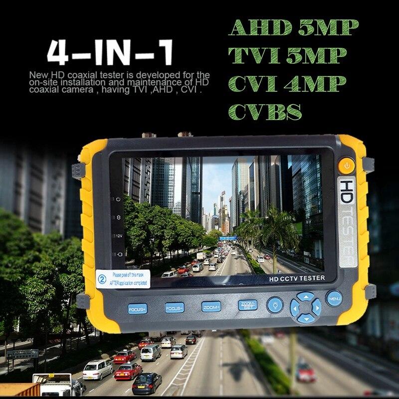 4 IN 1 CCTV Tester 5 Inch LCD 1080P 5MP HDMI VGA Input AHD TVI CVI Analog