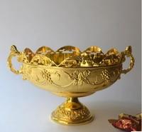 Classic gold überzogene runde blumen geschnitzt geprägt legierung metall obstschale stand zucker ablage metall serviertablett SG018-in Ablagen aus Heim und Garten bei