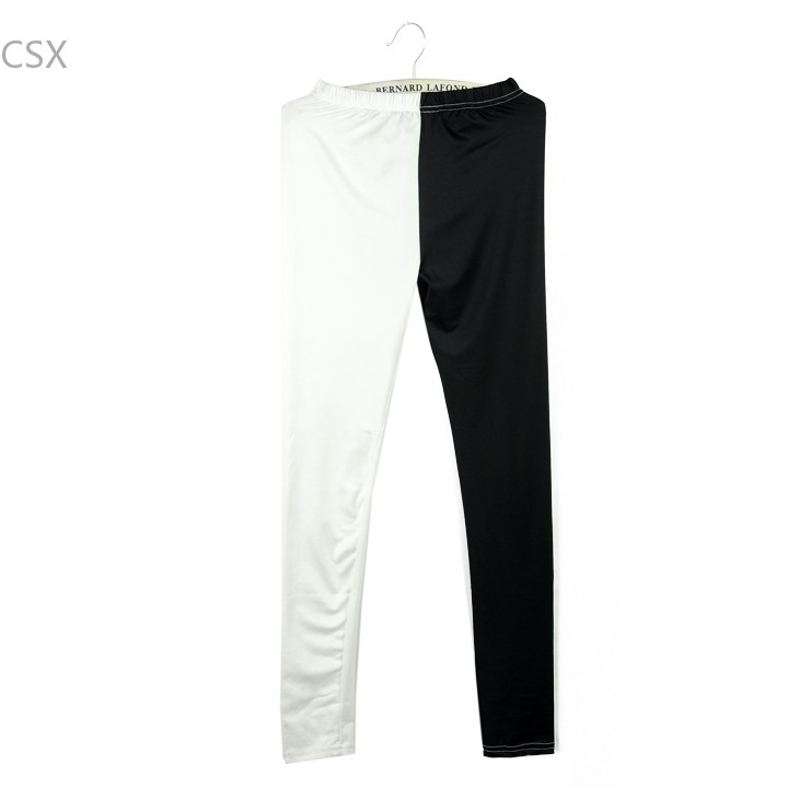 New Fashion Europe Style Women Sexy Black and white Mixed Patchwork Leggings Ninth Pants