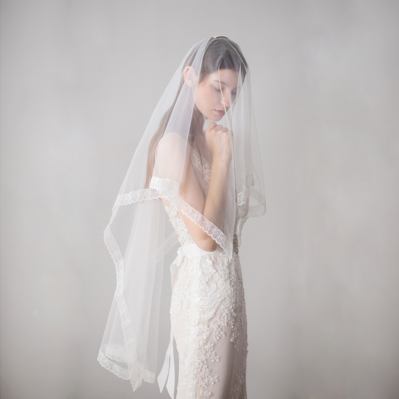 SLBRIDAL One Layer Wedding Veils With Combs Ivory Bridal Veils Wedding Accessories For Bride Mariage Women
