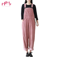 Women Vintage Striped Corduroy Cotton Jumpsuits Spring Autumn Casual Loose Strap Rompers Thick Warm Pocket Loose Overalls Romper