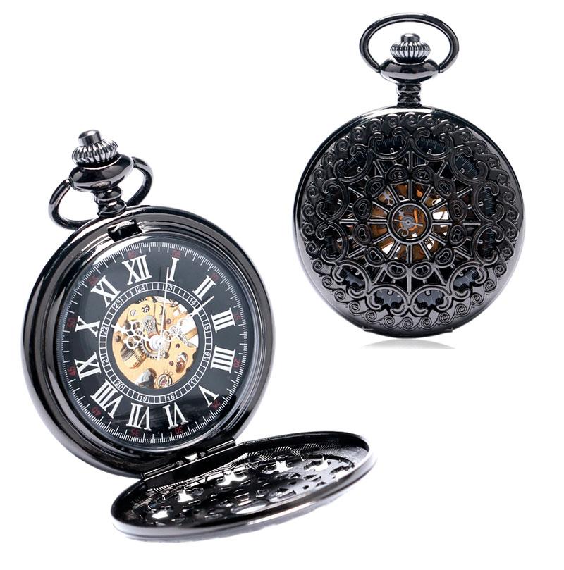 New Arrivals Pocket Watch Set Steel Black Mechanical Hand Wind Fob Watches Pocket Watch Box Bag Chain Clock Belt Luxury Gift