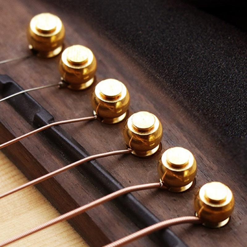 6pcs Acoustic Guitar String Bridge Pins Solid Copper Brass Endpin Replacement Parts Accessories