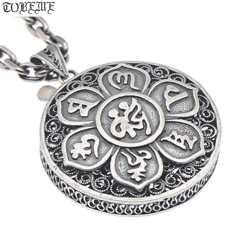 NEW 100 925 Silver Tibetan Six Words Proverb Necklace Pure Silver Buddhist OM Mantra Pendant Necklace