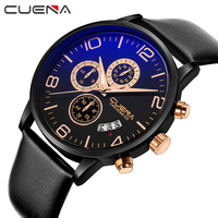 High Quality Fashion Men Quartz Watches Leather Waterproof Business Man Watch Luxury Brand Top CUENA Wristwatches