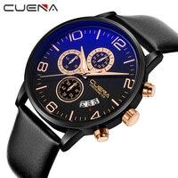High Quality Fashion Men Quartz Watches Leather Waterproof Business Man Watch Luxury Brand Top CUENA Wristwatches