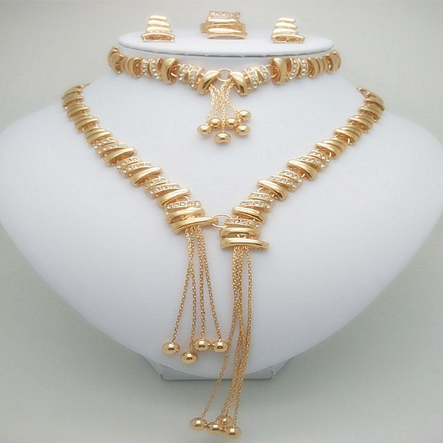 Kingdom Ma Hot Women Fashion Gold Color African Nigerian Tassel Wedding Jewelry Set Wedding Hollowed Out Jewelry Set For Women