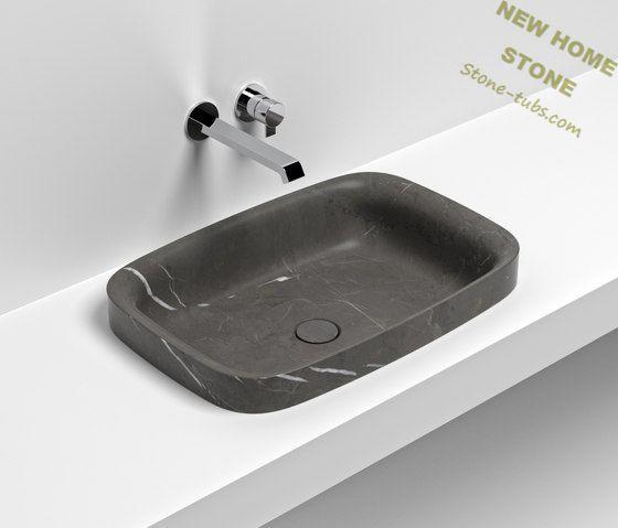 Rechteckige waschbecken stein schwarz marmor aufsatzwaschtisch für ...