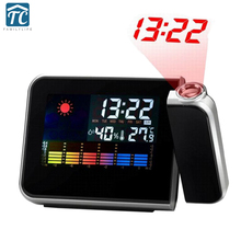 2017 Promotion Digital Projection Alarm Clock Weather Station with Temperature Thermometer Bedside Wake Up Projector Clock