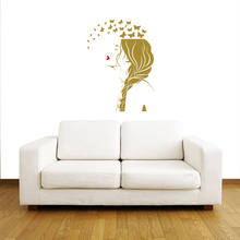 Hot Sale Wall Decals Beauty Salon Girl Hair Hairdresser Hairstyle Braiding Vinyl Sexy Girls Sticker Fashion Bedroom Decor LA763(China)