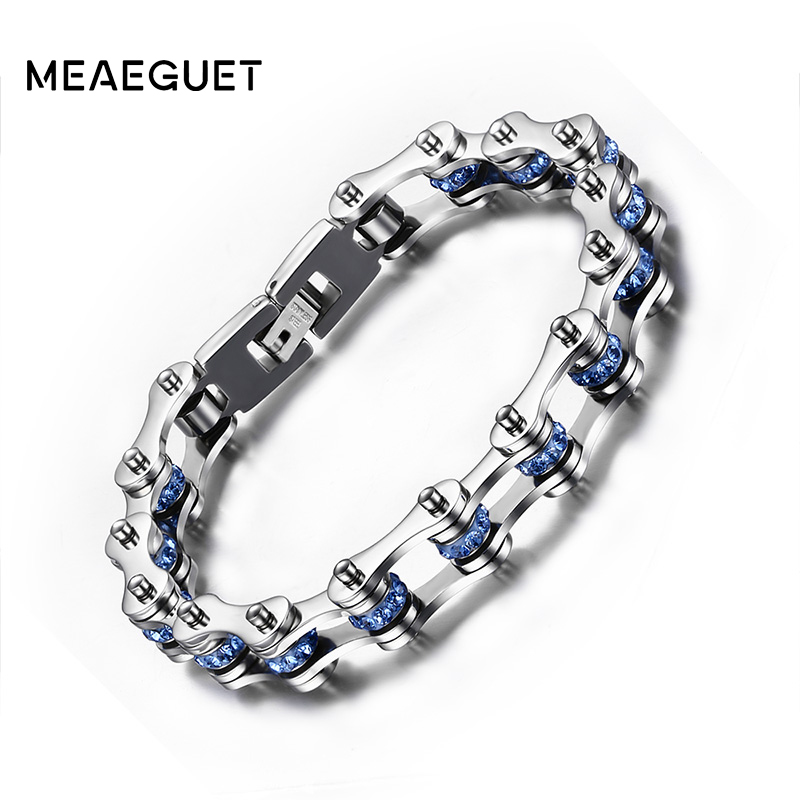 Meaeguet Blue Crystal Bike Chain Bracelets Bangles 316L Stainless Steel Chain Biker Bracelets Men Jewelry sda 24mm width punk 316l stainless steel bracelet men biker bicycle motorcycle chain men s bracelets mens bracelets