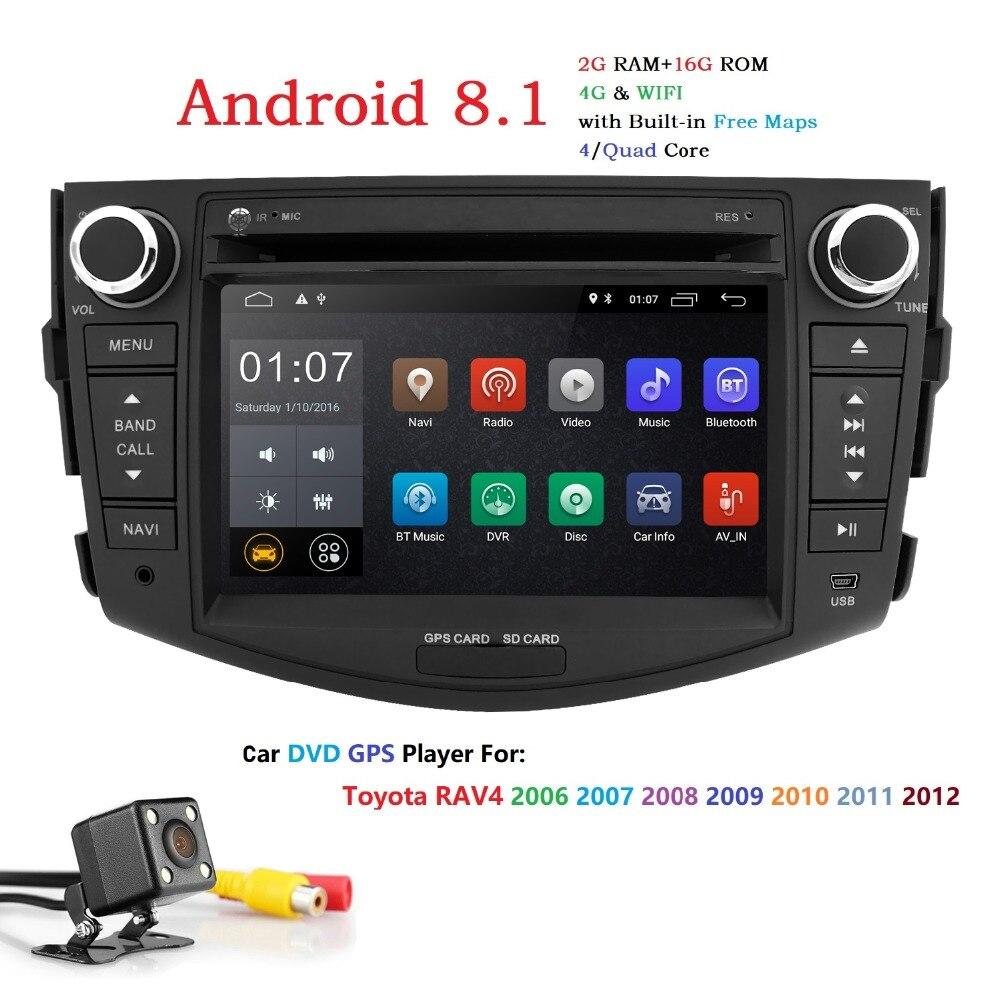 HIZPO 7 Pouces Android 8.1 Lecteur DVD de voiture Pour Toyota RAV 4 RAV4 2006 2007 2008 2009 2010 2011 2012 Stéréo 4G Wifi DVR caméra Libre