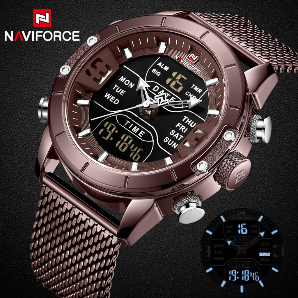 Image 2 - NAVIFORCE New Top Luxury Brand Stainless Steel Sports Men Watch Army Military Dual Display Waterproof Watches relogio masculino-in Quartz Watches from Watches