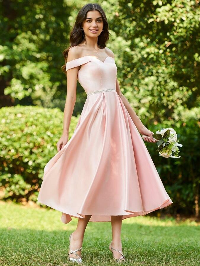 Customed 2019 New Charming Tea-Length Satin   Bridesmaid     Dresses   Off the Shoulder Formal Prom Party   Dress   vestidos de noiva