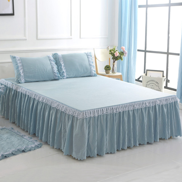 bdee245136 Gilrs Bed Skirt Set Pink Grey Purple Yellow Bed Cover Bed Sheet Twin Queen  King Double Single Size Bed set with Lace Ruffles