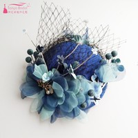 Wedding Bridal Hats Elegant Embroidery Royal Blue /Beige Bride Accessories Event Hat DQG296