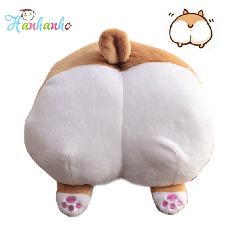 15 Cartoon Corgi Sexy Hip Plush Pillow Buttocks Cushion Soft Stuffed Animal Doll Kids Toy 38*36cm stuffed animal 120 cm cute love rabbit plush toy pink or purple floral love rabbit soft doll gift w2226
