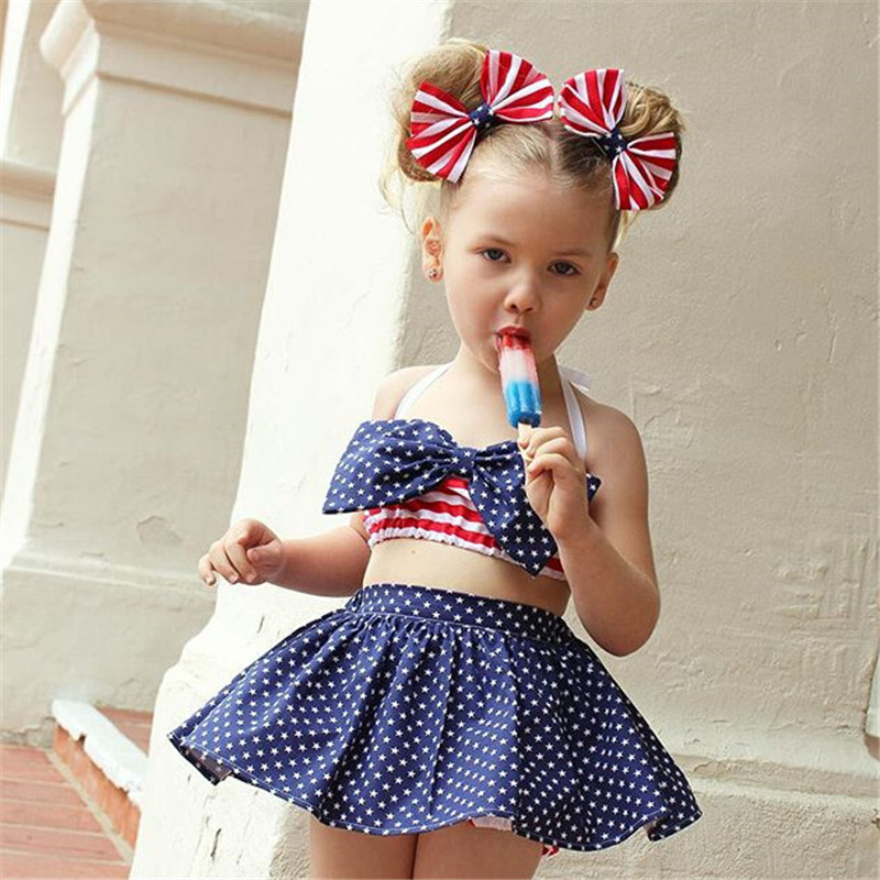 Super Cute Kids Baby Girls Stripes Polka Dots Skirtini Headband - stripes with polka dots