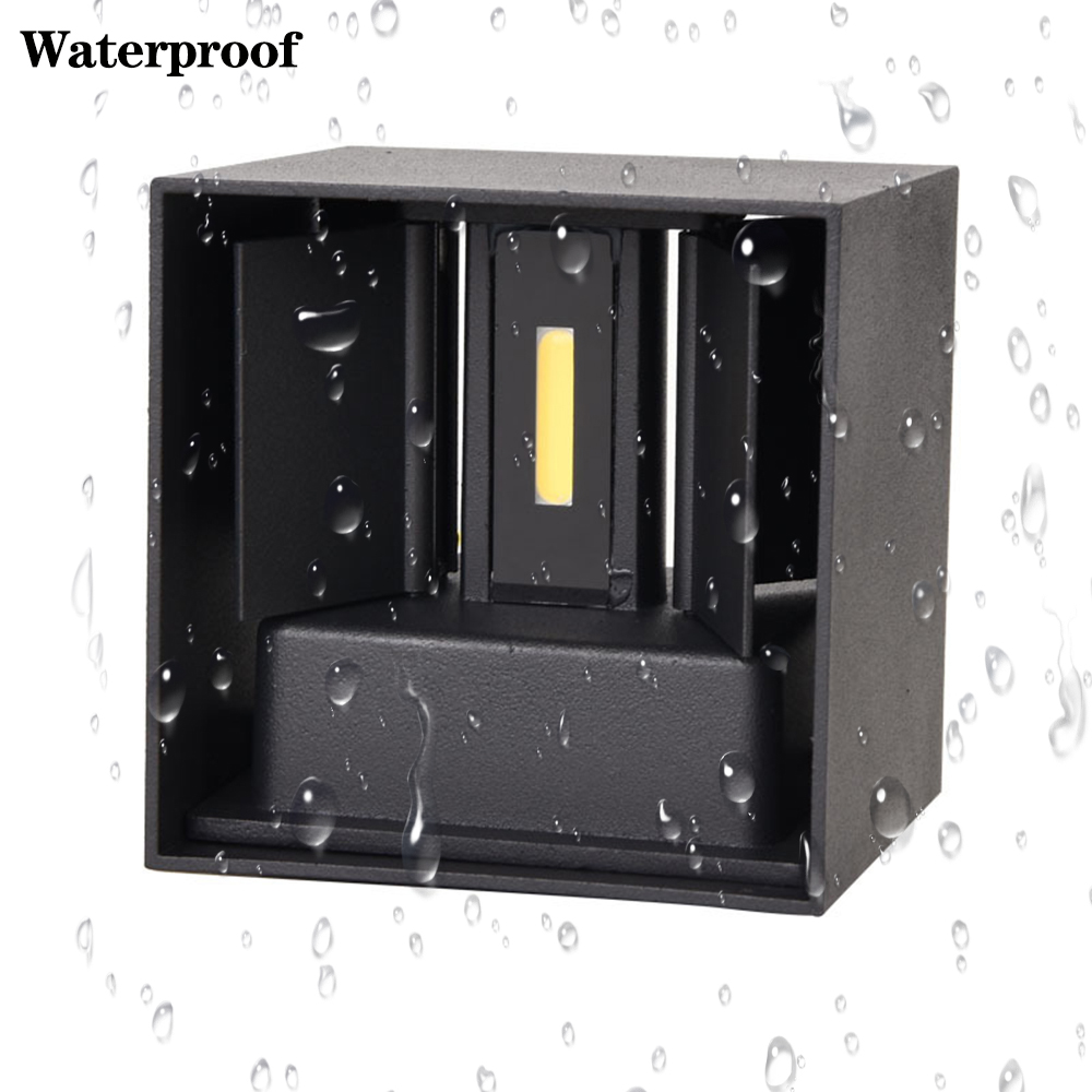 Outdoor Wall Lamp Dimmable Aluminum COB IP65 Waterproof Modern Wall Lamp Living Room Porch Led Floodlight Surface Mounted