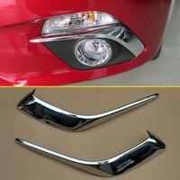 Front Fog Light Brow Chrome Strip Overlay For Mazda3 Mazda 3 BM 2014 2016 High gloss Chrome 2Pcs/Set Trims Exterior Accessories