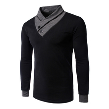 Hot Sale New spring high-elastic cotton t-shirts men's long sleeve v neck tight t shirt free CHINA POST shipping Asia M-XXL