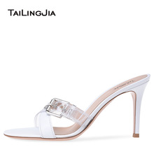 9 Cm Low Heel Women Mules White Slip On Woman Shoes Open Toe Sexy Design Summer Shoes Casual Outdoor Plus Size Shoes Wholesale