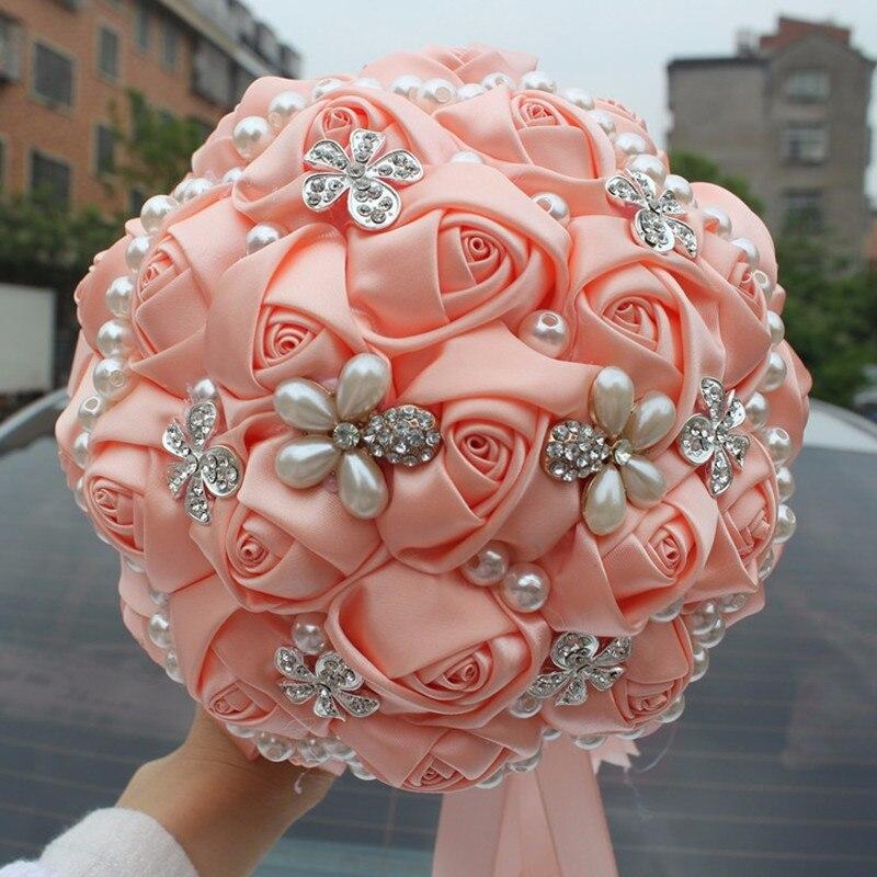 Champán ramos de novia satén Rosa perlas artificiales boda broche ...